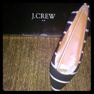 J.Crew textured stripe Amelia Flats size 8 new in